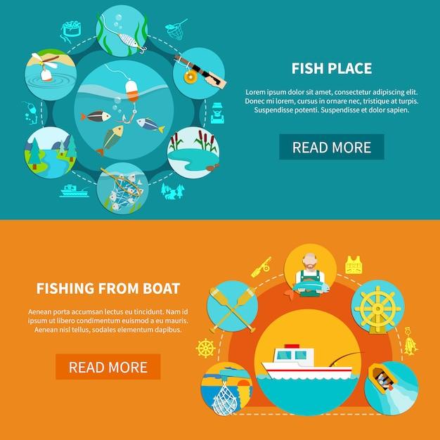 Conjunto de banner de pesca flotante vector gratuito
