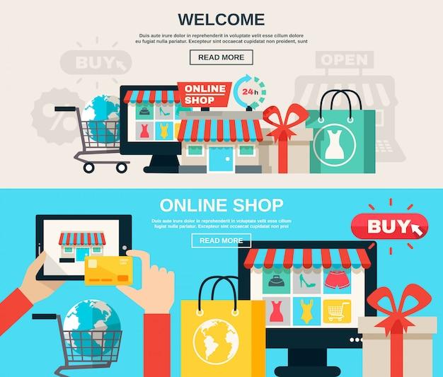 Conjunto de banner plano de internet store vector gratuito