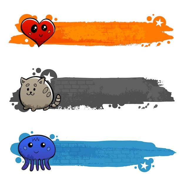 Conjunto de banner plano de personajes de graffiti vector gratuito