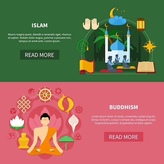 Conjunto de banner plano de religiones vector gratuito