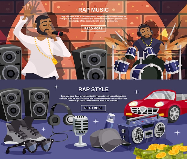 Conjunto de banner de rap music vector gratuito