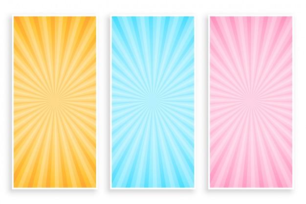Conjunto de banner de rayos de rayos de sol abstractos vector gratuito