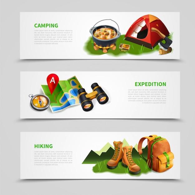Conjunto de banner realista de camping vector gratuito