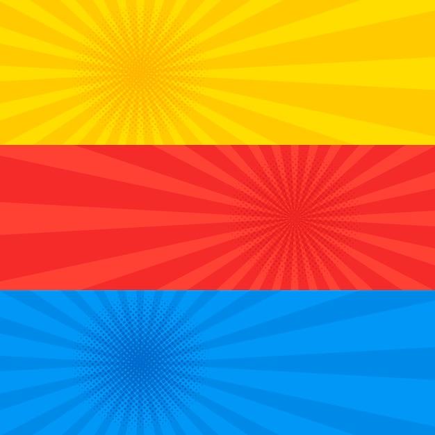 Conjunto de banner rojo y azul amarillo estilo retro punteado de arte pop. flyer colección plantilla de lunares de cómic antiguo. ilustración Vector Premium