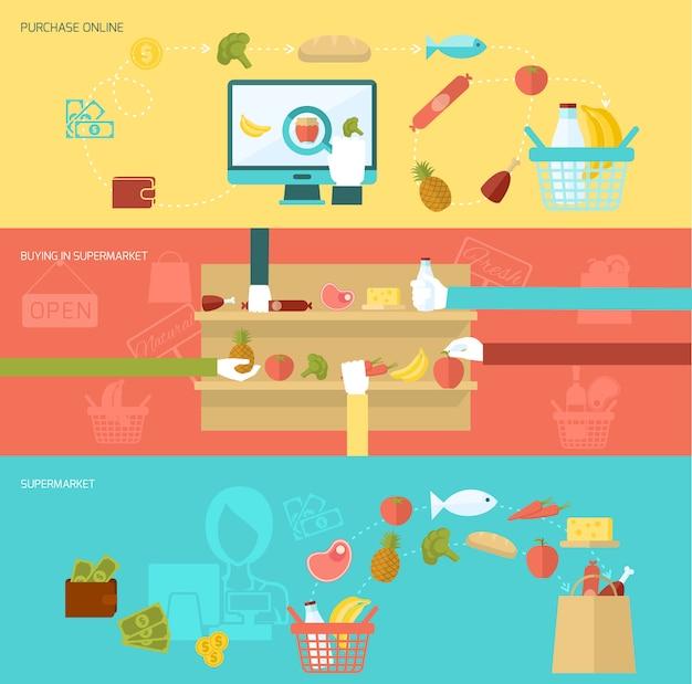 Conjunto de banner de supermercado vector gratuito