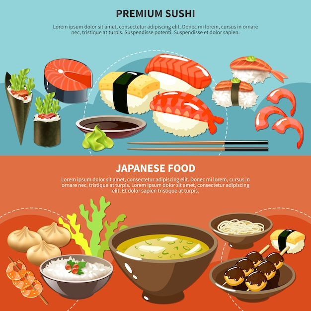Conjunto de banner de sushi vector gratuito