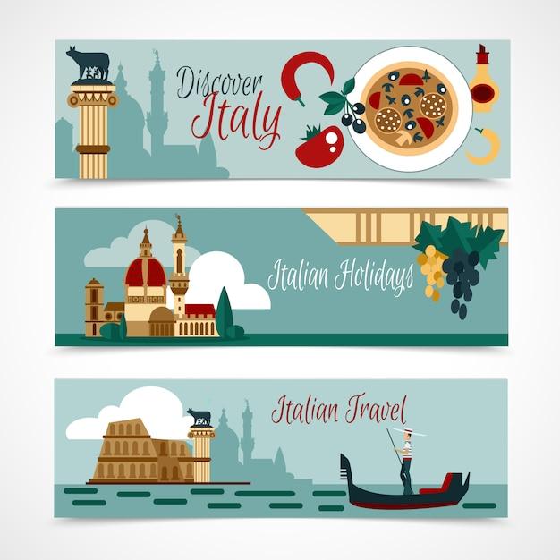 Conjunto de banner turístico de italia vector gratuito