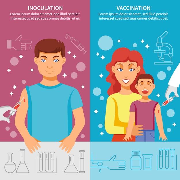 Conjunto de banner de vacunación para niños y adultos vector gratuito