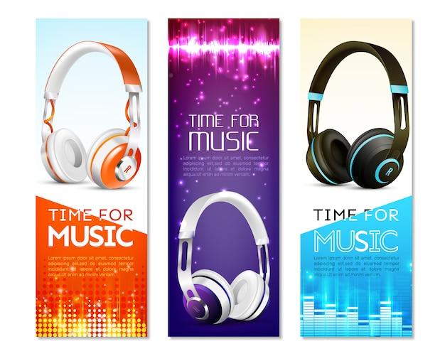 Conjunto de banner vertical de auriculares realistas vector gratuito