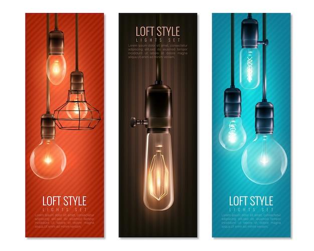 Conjunto de banner vertical de bombillas de estilo vintage vector gratuito