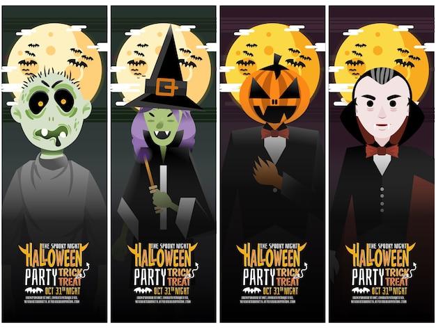 Conjunto de banner vertical de cuatro tipos de fiesta de halloween Vector Premium