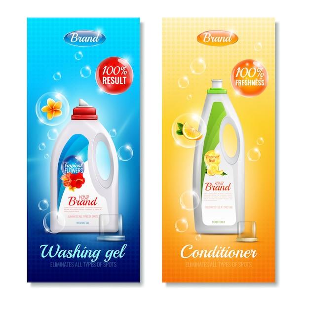 Conjunto de banner vertical de ropa de detergentes vector gratuito