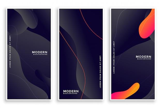 Conjunto de banners abstractos de estilo fluido oscuro de tres vector gratuito