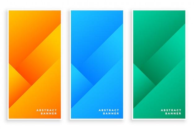 Conjunto de banners abstractos modernos con estilo de tres vector gratuito