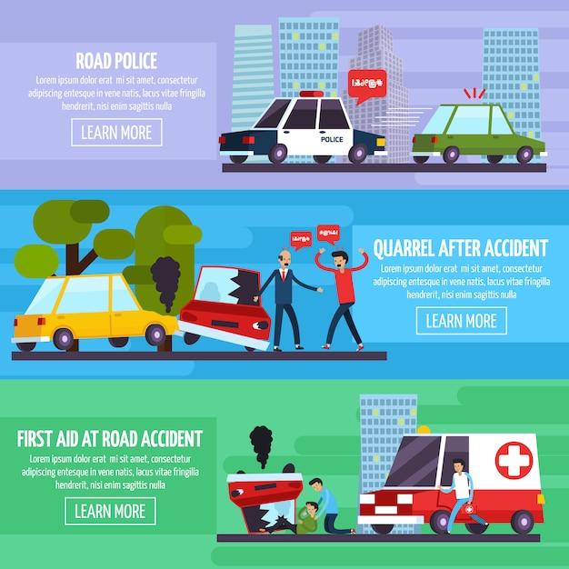 Conjunto de banners de accidentes de carretera vector gratuito