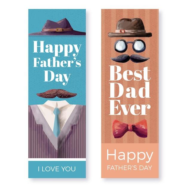 Conjunto de banners de acuarela del día del padre vector gratuito