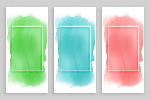 Conjunto de banners de acuarela marco abstracto vector gratuito