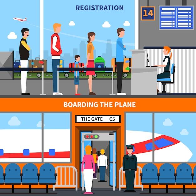 Conjunto de banners del aeropuerto vector gratuito