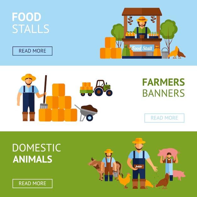Conjunto de banners de agricultores vector gratuito