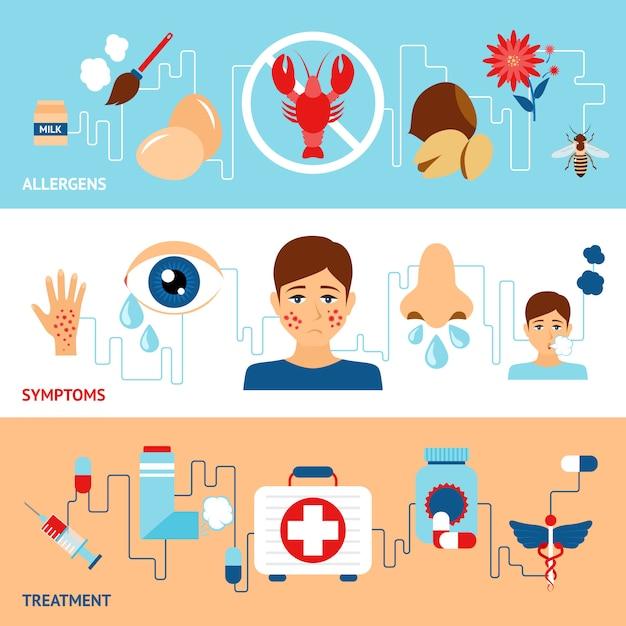 Conjunto de banners de alergia vector gratuito