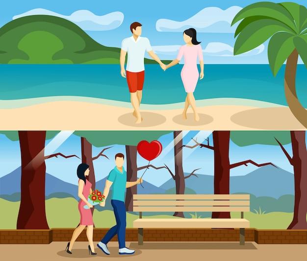 Conjunto de banners de amor de personas vector gratuito
