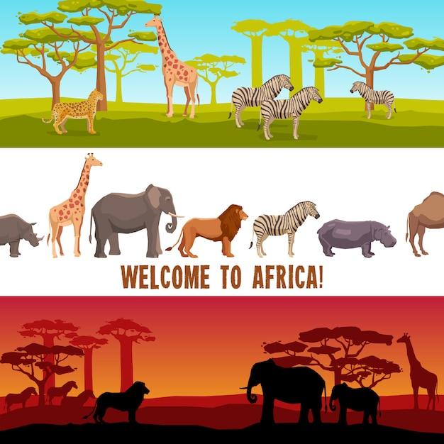Conjunto de banners de animales africanos horizontales vector gratuito