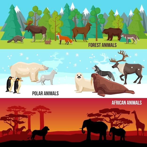 Conjunto de banners de animales planos vector gratuito