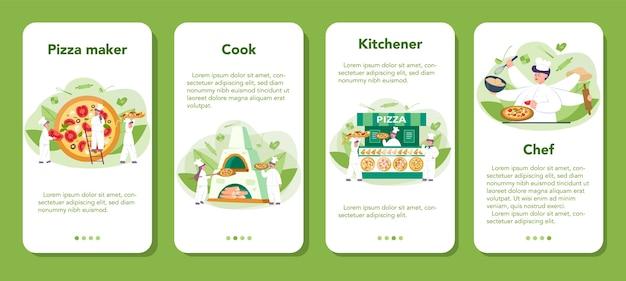Conjunto de banners de aplicaciones móviles de pizzería. chef cocinando deliciosa pizza sabrosa. comida italiana. salami y queso mozarella, rodaja de tomate. ilustración de vector aislado en estilo de dibujos animados Vector Premium
