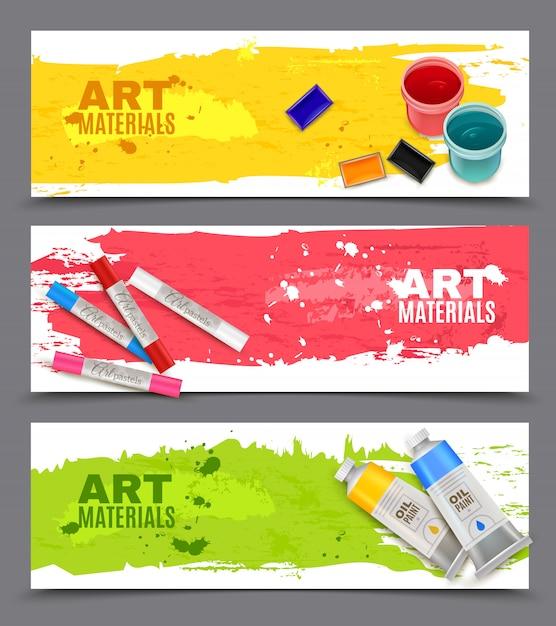 Conjunto de banners artísticos horizontales vector gratuito