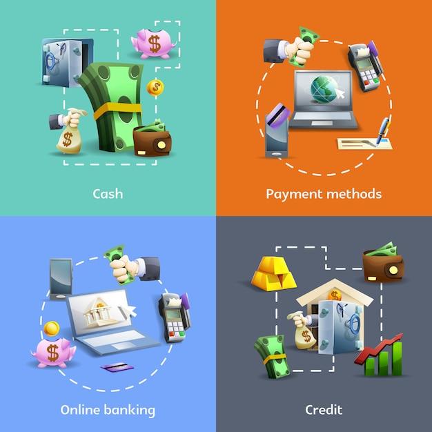 Conjunto de banners bancarios y de pago. vector gratuito