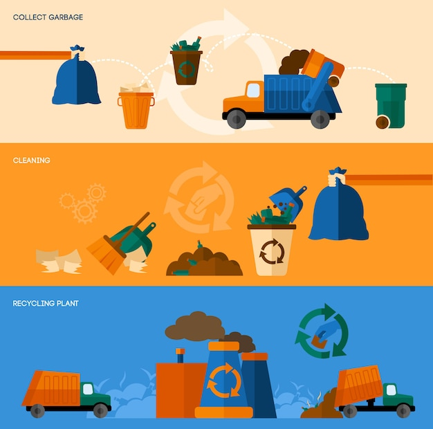 Conjunto de banners de basura Vector Premium