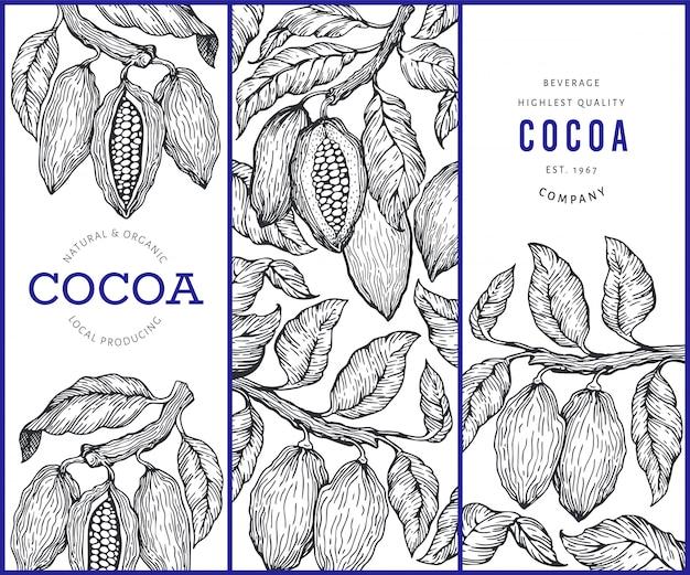 Conjunto de banners de cacao. Vector Premium