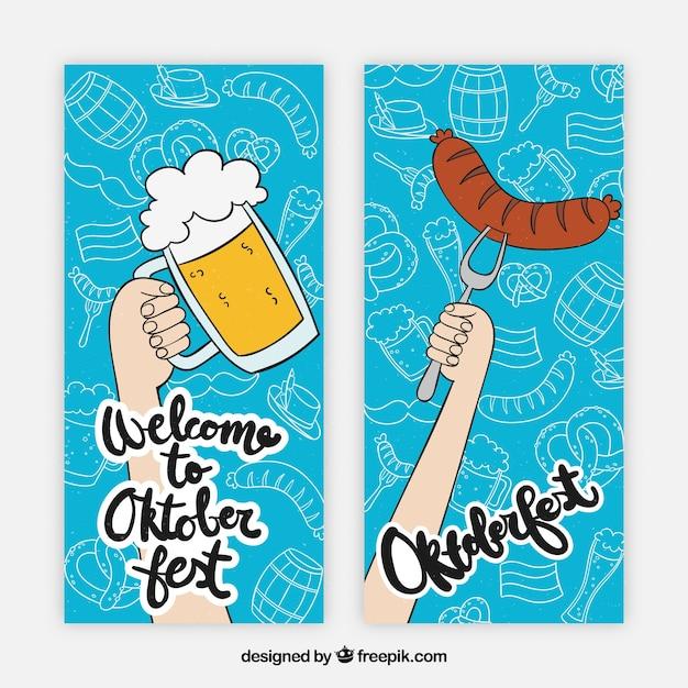 Conjunto de banners con cerveza y salchicha dibujado a mano vector gratuito