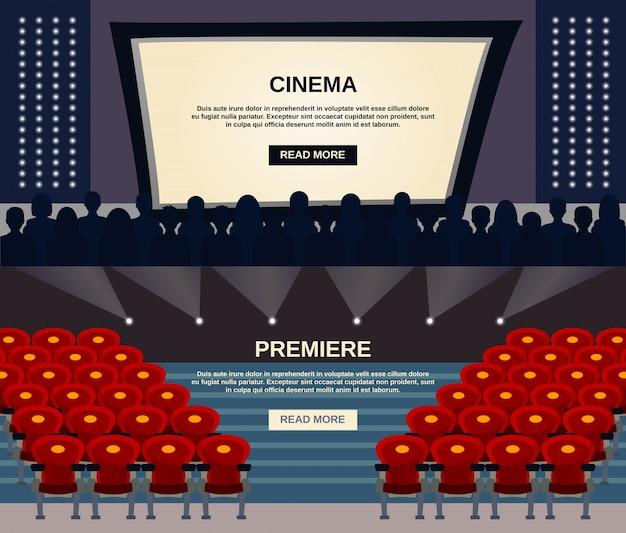 Conjunto de banners de cine vector gratuito