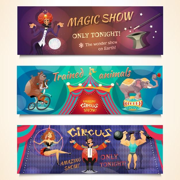 Conjunto de banners de circo vector gratuito