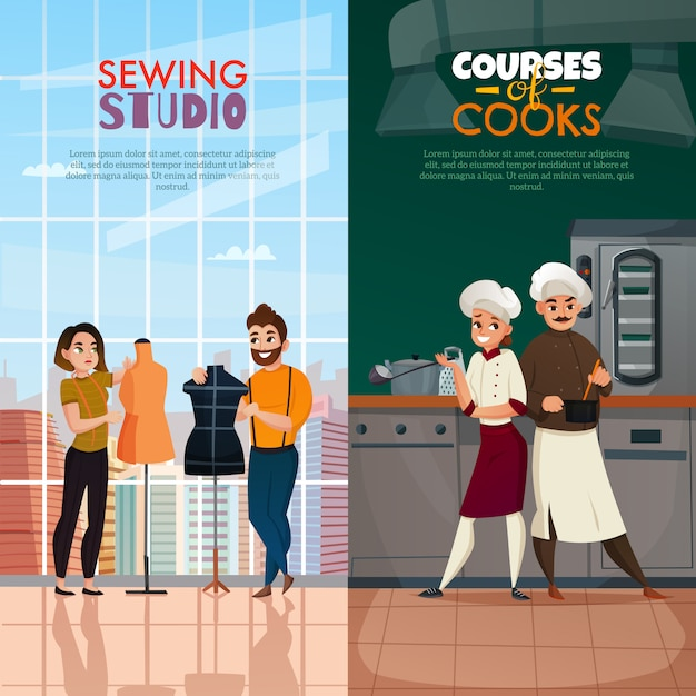 Conjunto de banners de cocineros y sastres vector gratuito