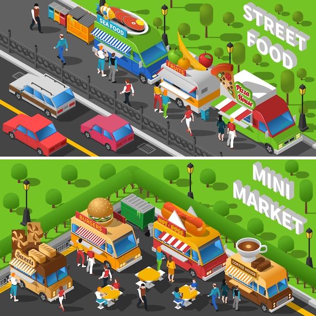Conjunto de banners de comida callejera vector gratuito
