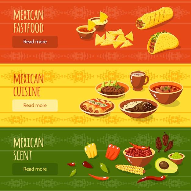 Conjunto de banners de comida mexicana vector gratuito