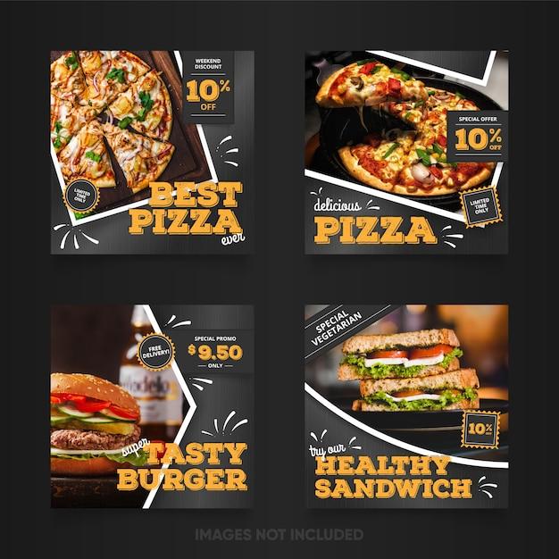 Conjunto de banners de comida rápida Vector Premium