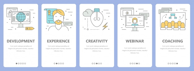 Conjunto de banners de concepto de e-learning de diseño plano de línea delgada Vector Premium