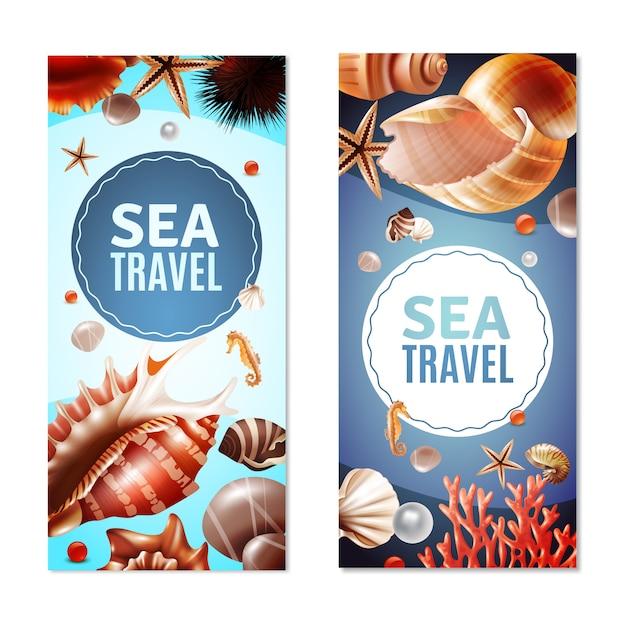 Conjunto de banners de conchas marinas vector gratuito