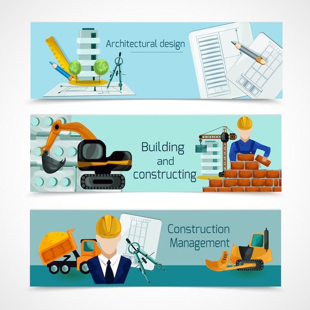 Conjunto de banners de construcción vector gratuito
