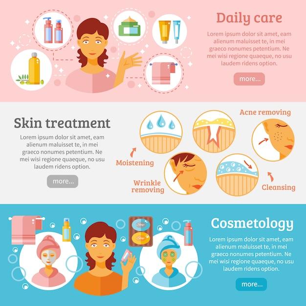 Conjunto de banners de cosmetología de piel vector gratuito
