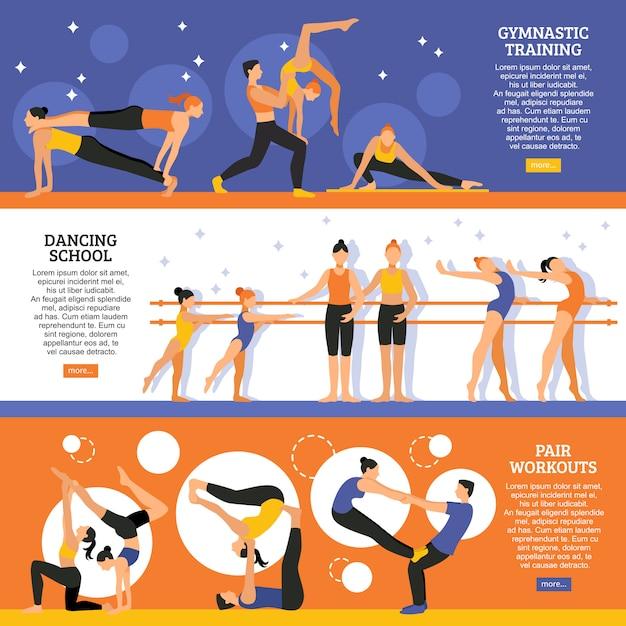Conjunto de banners de danza y gimnasia. vector gratuito