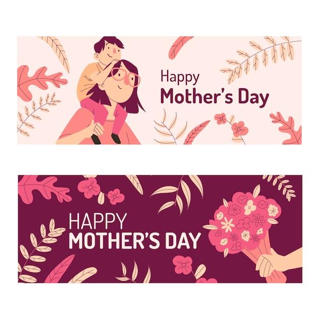 Conjunto de banners de día de la madre dibujados a mano Vector Premium