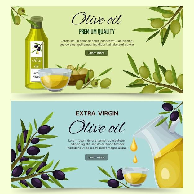 Conjunto de banners de dibujos animados de aceite de oliva vector gratuito