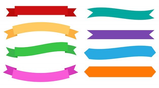 Conjunto de banners de diseño de cintas de colores Vector Premium