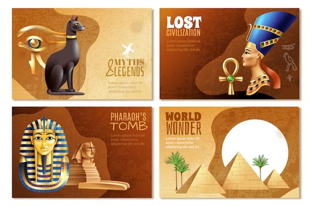 Conjunto de banners de egipto vector gratuito