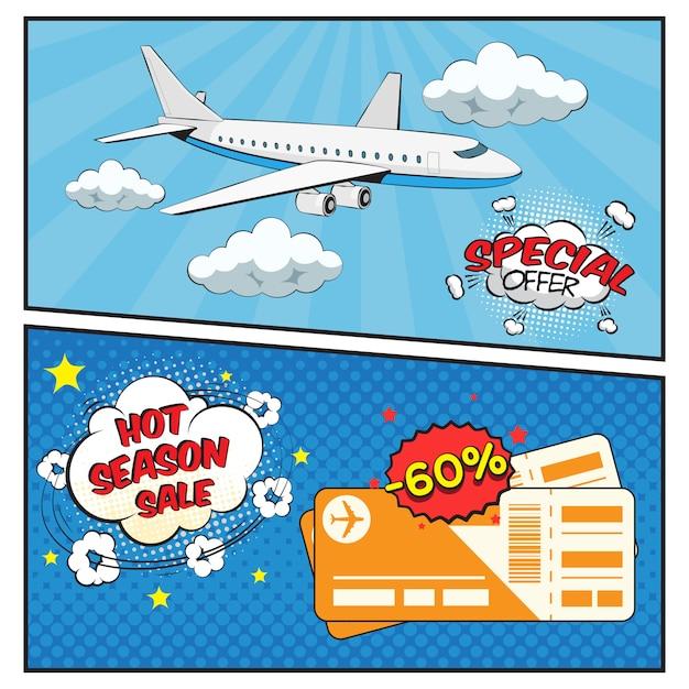 Conjunto de banners de estilo cómic de venta de boletos aéreos vector gratuito