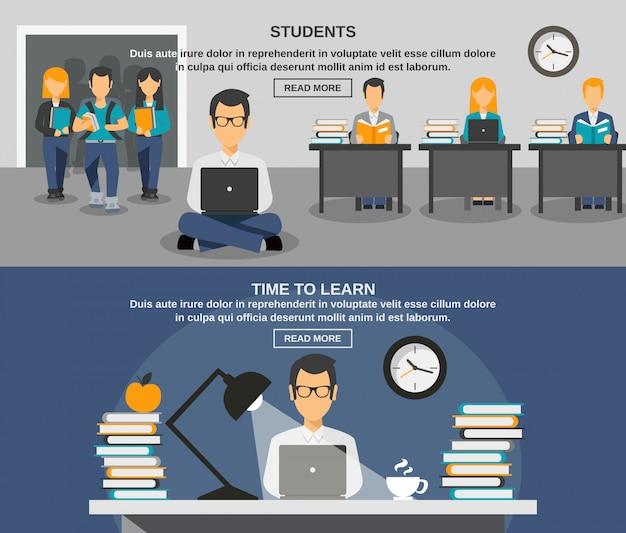 Conjunto de banners de estudiante vector gratuito